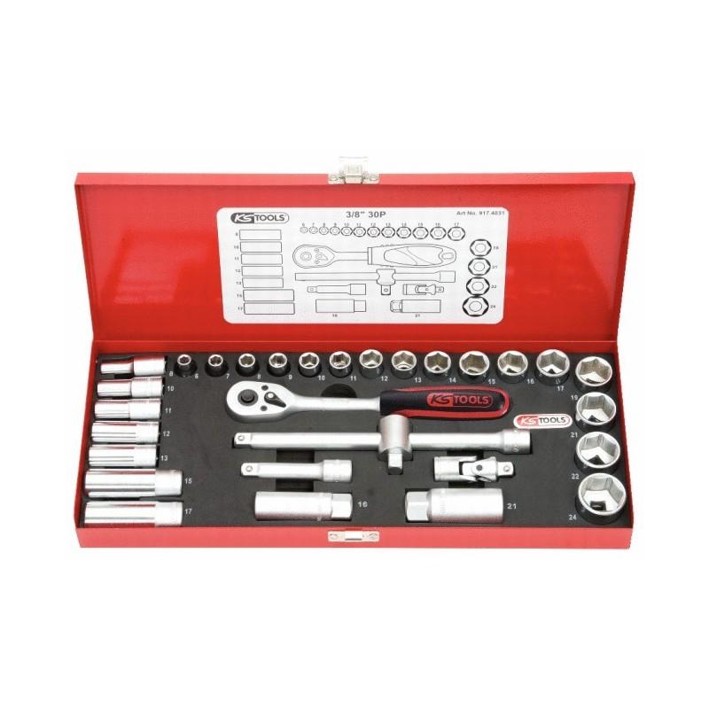 """KS-Tools 30-os. tööriistakomp. 3/8"""" padrunid 6-24mm"""