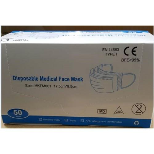Meditsiinilsed 3-kihilised sertifitseeritud kaitsemaskid 50TK pakis